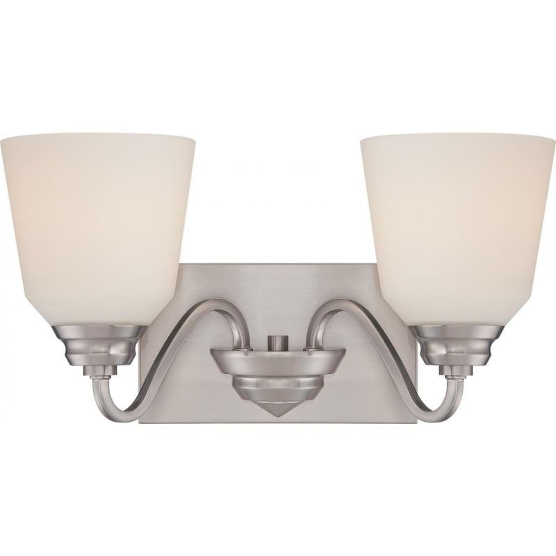 """Photo of Nuvo Lighting 62/367 Brushed Nickel Calvin 2 Light 15-3 / 4 """"Wide LED Bathroom Vanity Light with Frosted Glass Shades"""