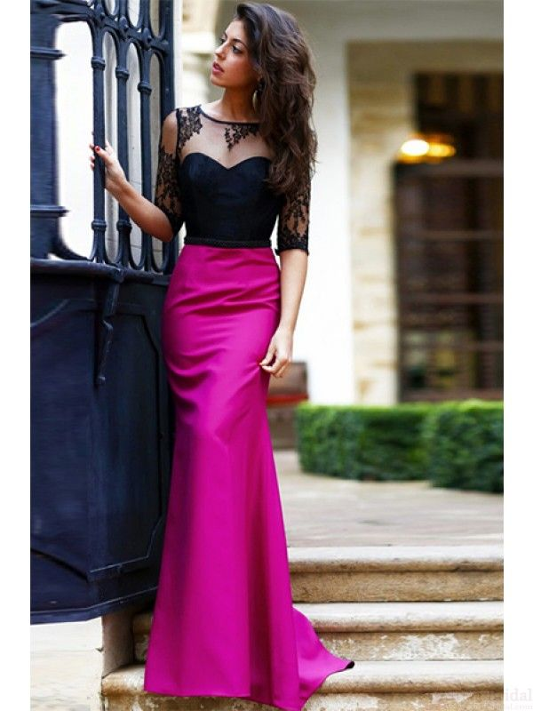 Round Neck Black Lace Bodice Long Sheath Prom Dresses Evening ...