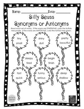 Seuss Silly Synonyms and Antonyms by The Can Do Classroom
