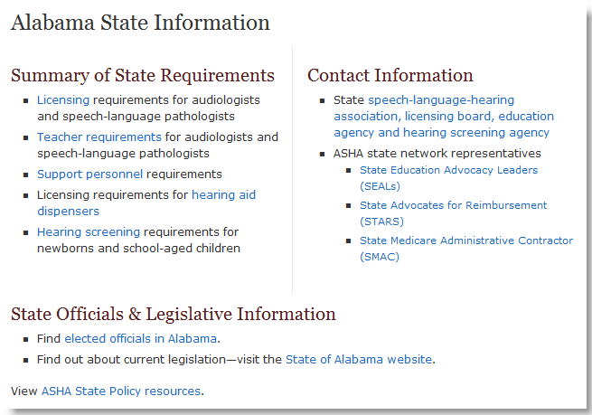 Looking for state licensure requirements? Visit ASHA's State-by-State section on the web and select your state.
