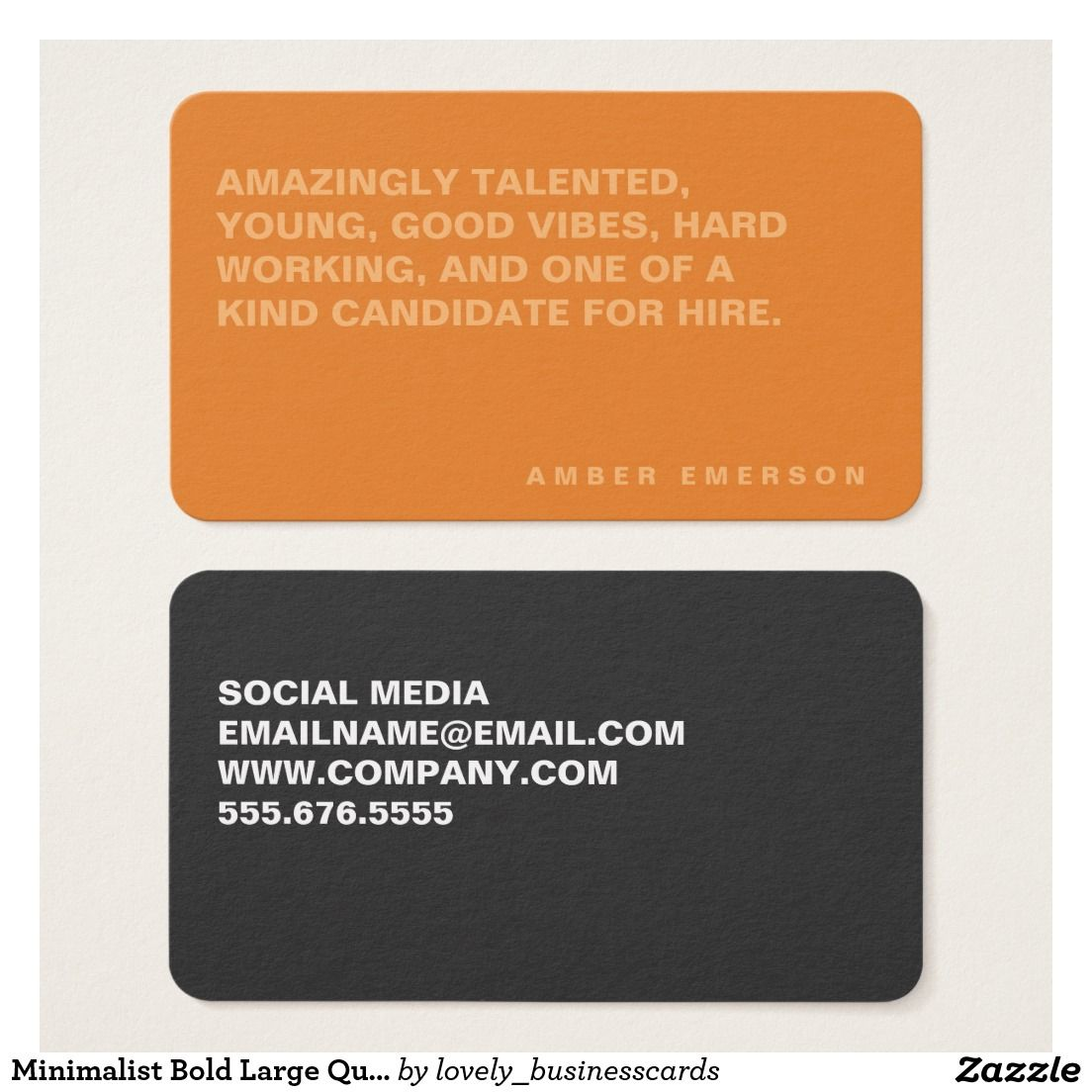 Minimalist Bold Large Quote Business Card #boldtext #networking ...