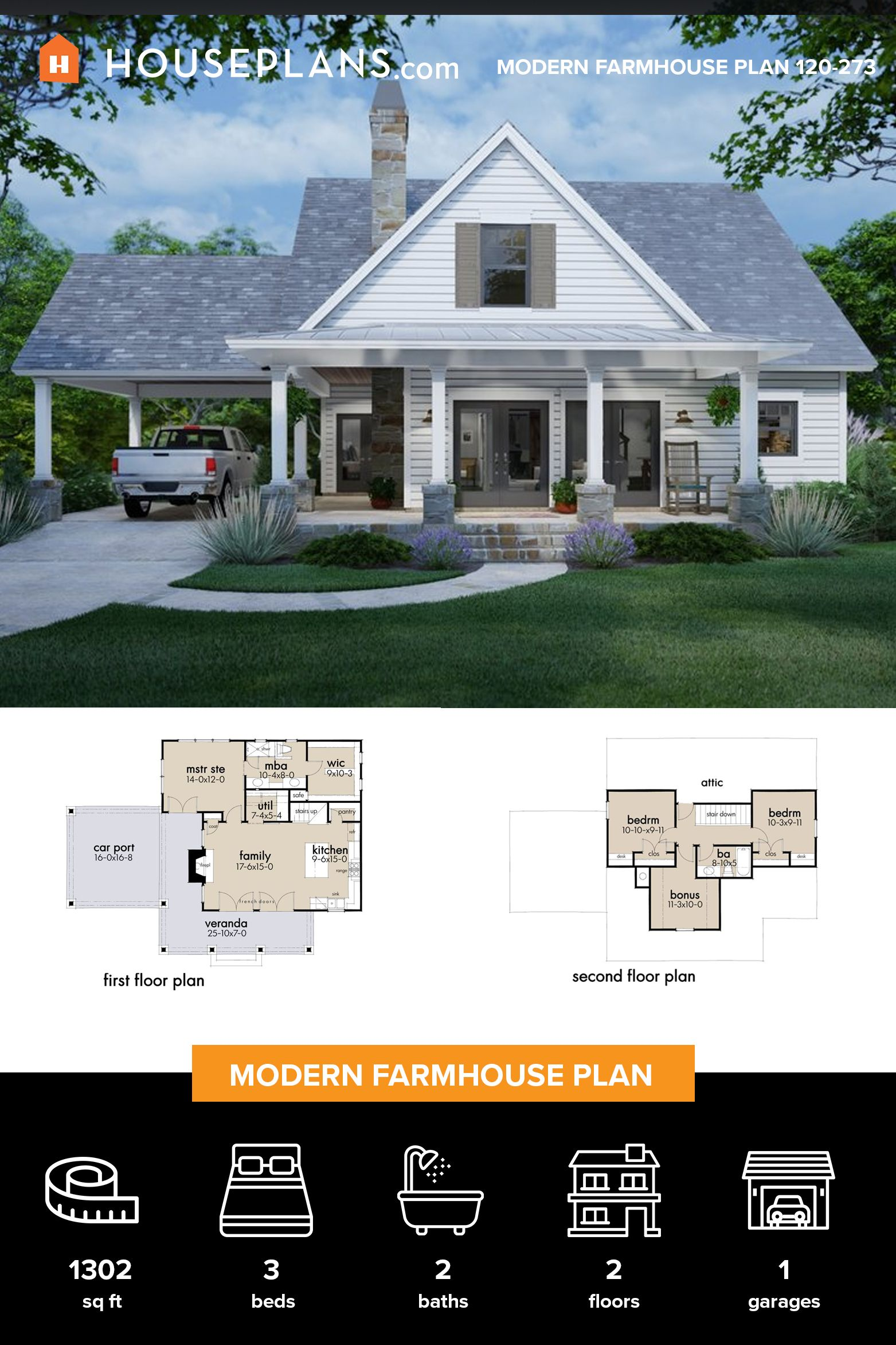 Cottage Style House Plan 3 Beds 2 Baths 1302 Sq Ft Plan 120 273 Modern Farmhouse Plans House Plans Farmhouse Farmhouse Plans