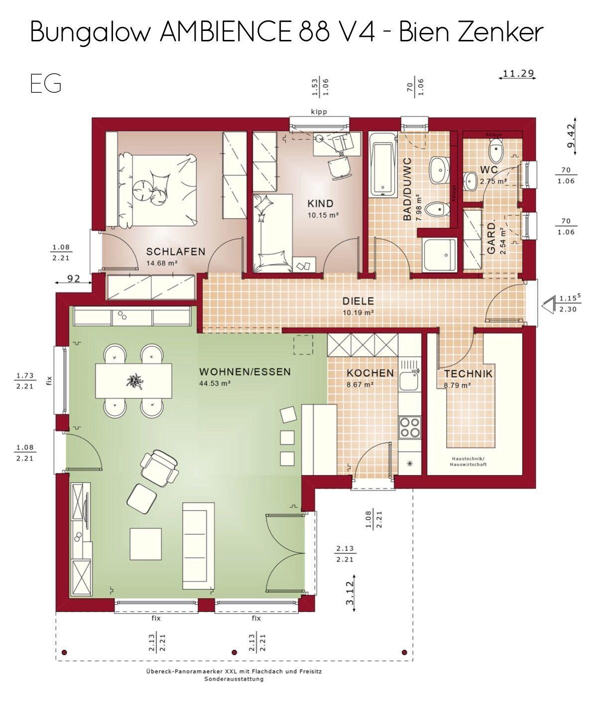 Moderner Bungalow Grundriss ebenerdig mit Flachdach