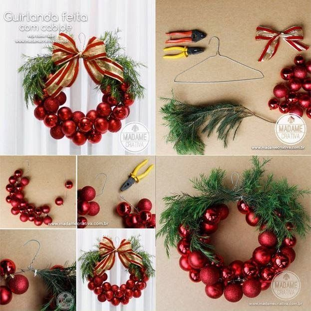 How to make a Christmas bauble wreath with a metal hanger and ...