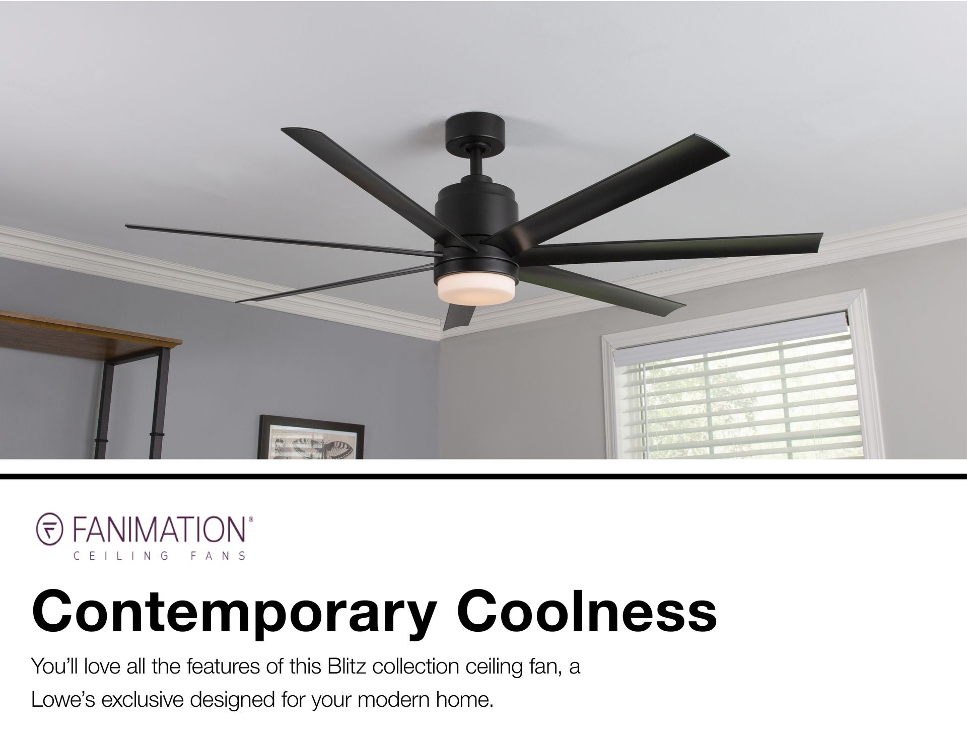 Fanimation Studio Collection Blitz 56 In Matte Black Led Indoor Outdoor Ceiling Fan With Light Kit And Remote 7 Blade Lowes Com Outdoor Ceiling Fans Ceiling Fan With Light Ceiling Fan
