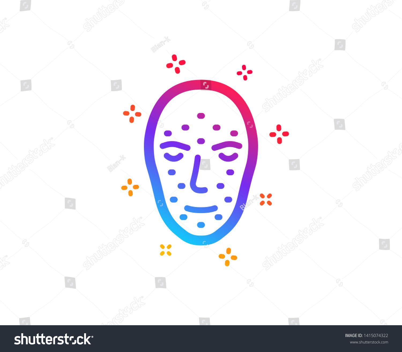 Face biometrics icon. Facial recognition sign. Head
