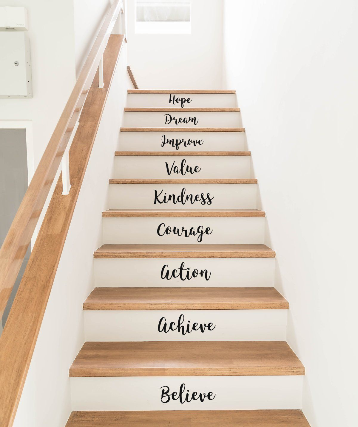Stair riser wall decals stickers motivational quotes inspiration art decor home stairway words 36 colours available handmade