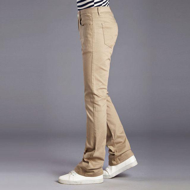 Mens Bell Bottom Pants Casual Fashion Mens Flared Boot Cut Trousers Pantalon Homme Men Clothing Black White Khaki Yellow