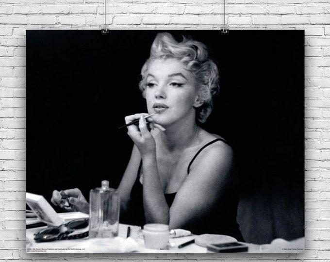 Marilyn Monroe Elegant Photograph Applying Make Up In Front Of