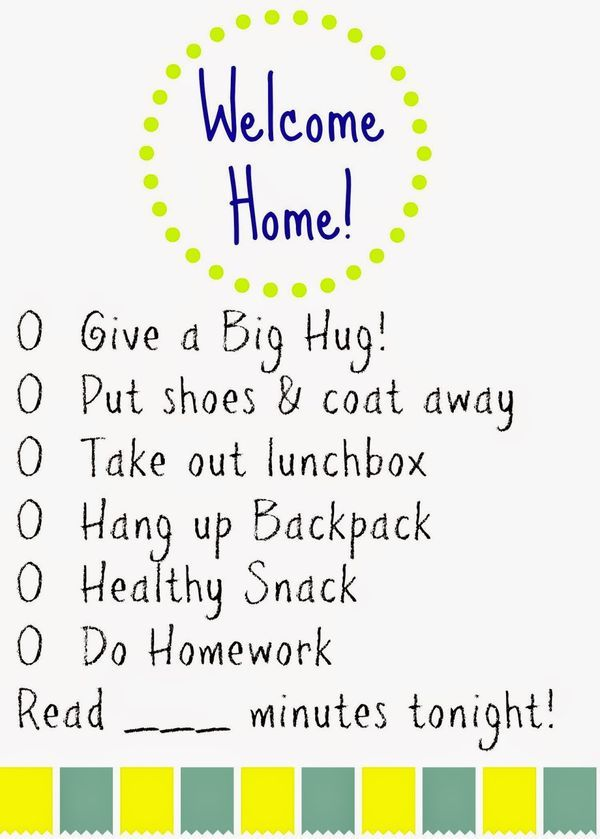 Kids\u0027 Daily Checklists School, Parents and Baby checklist
