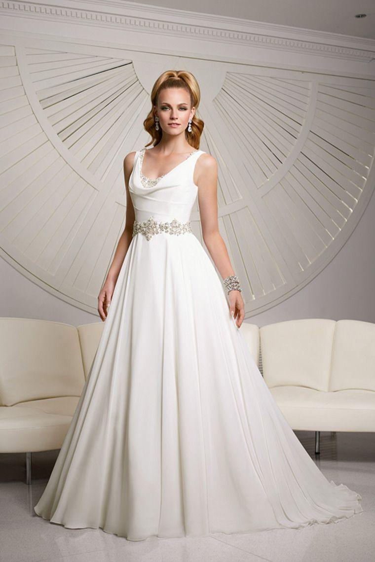 A line chiffon wedding dress   Cowl Neck Beaded Neckline And Waistline Chiffon Wedding Dress A
