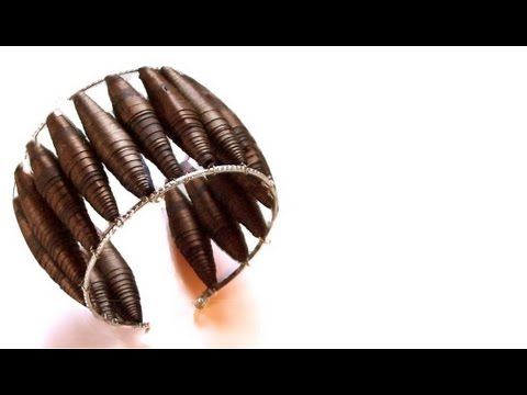 PAPER BEADS FROM GIFT WRAPPING PAPER, how to diy, jewery making, silver necklace - YouTube