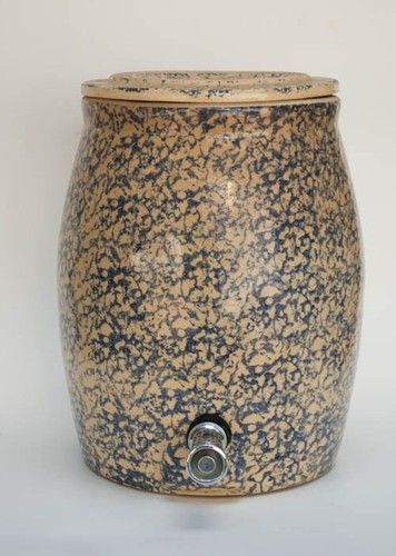 Vintage Blue Spongeware Crock Water Cooler 2 1 2 Gallon Robinson Ransbottom Water Coolers Crock Stoneware Crocks