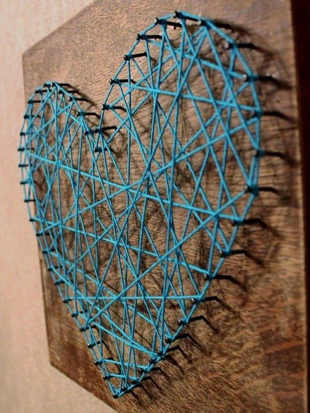knutselen voor volwassenen | mooi hart van touw door ilkavanderburgt