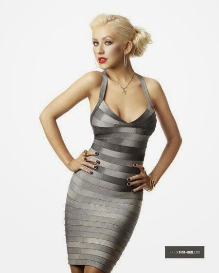 Christina Aguilera Gray Sexy Dress | Sexy New Years Eve ...