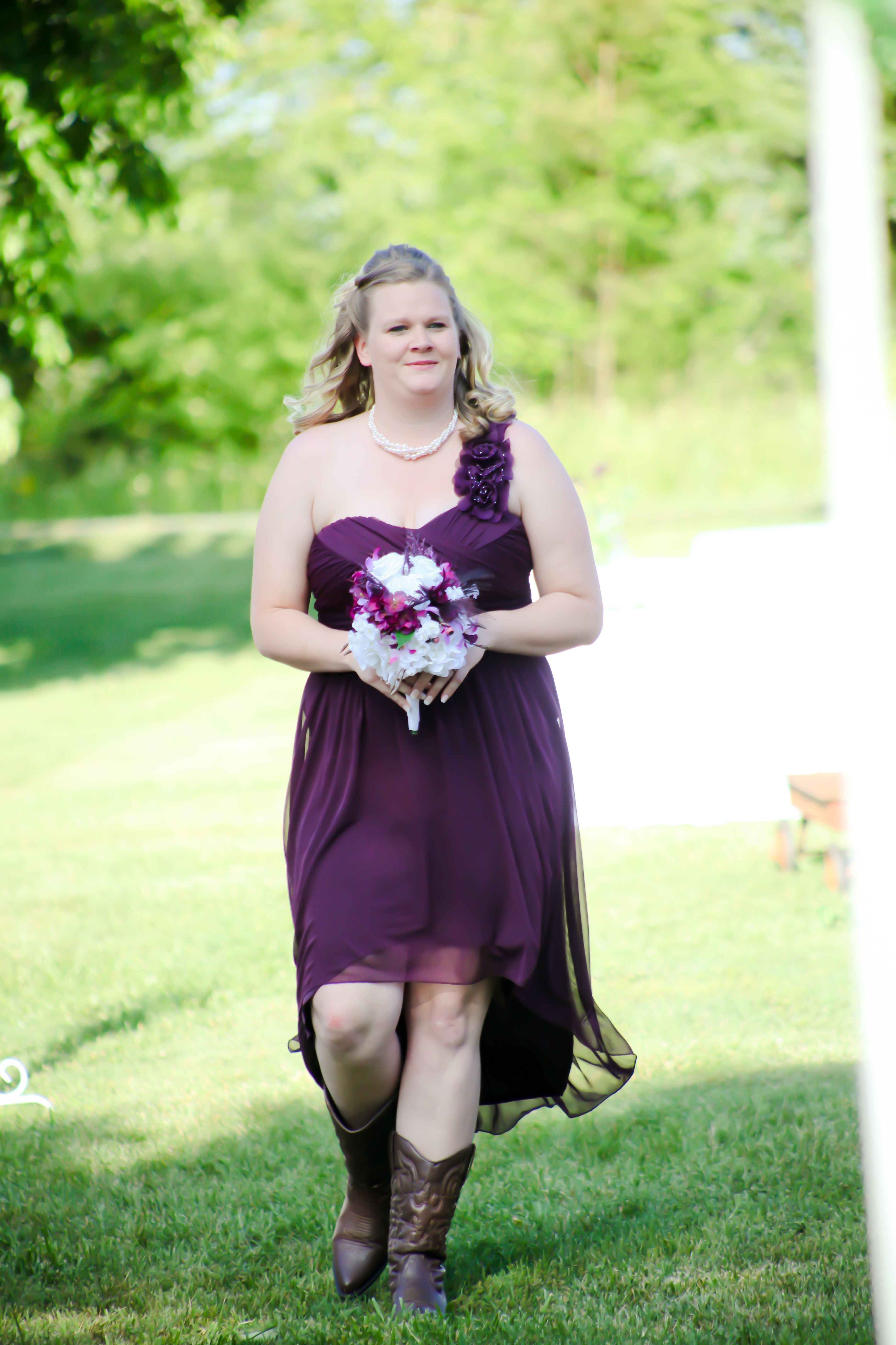 Hi low hemline on one shoulder plum bridesmaid dress calla hi low hemline on one shoulder plum bridesmaid dress calla lillies with purple and white roses loved my girls bridesmaids dresses from davids bridal ombrellifo Image collections