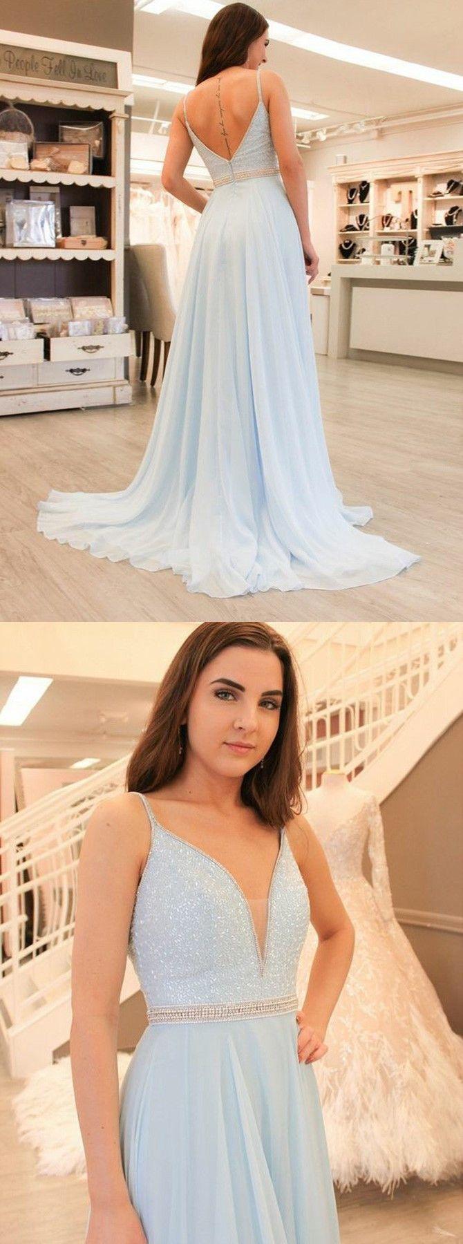 Aline vneck light blue chiffon prom dress with beading in