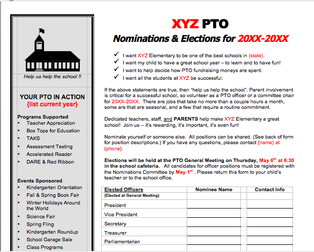 Officer nomination form for PTO, PTA elections. | Leader Success ...