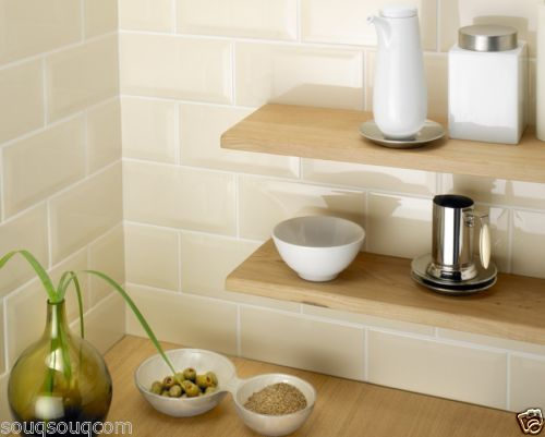 Tile Deals Victoria Metro Gloss Cream Bevelled Kitchen Wall Tiles Adorable Kitchen Wall Tile Design Ideas