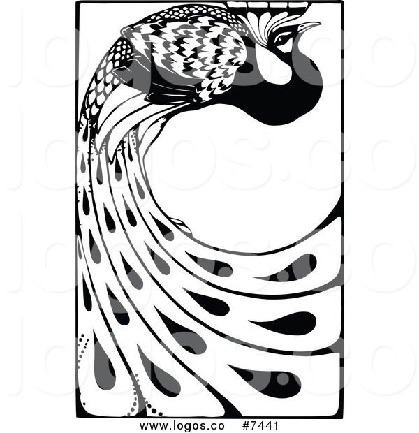 Royalty Free Clip Art Vector Logo Of A Black And White Peacock With Long Feathres By Prawny Vintage 7441 Free Clip Art Clip Art Vintage Clip Art