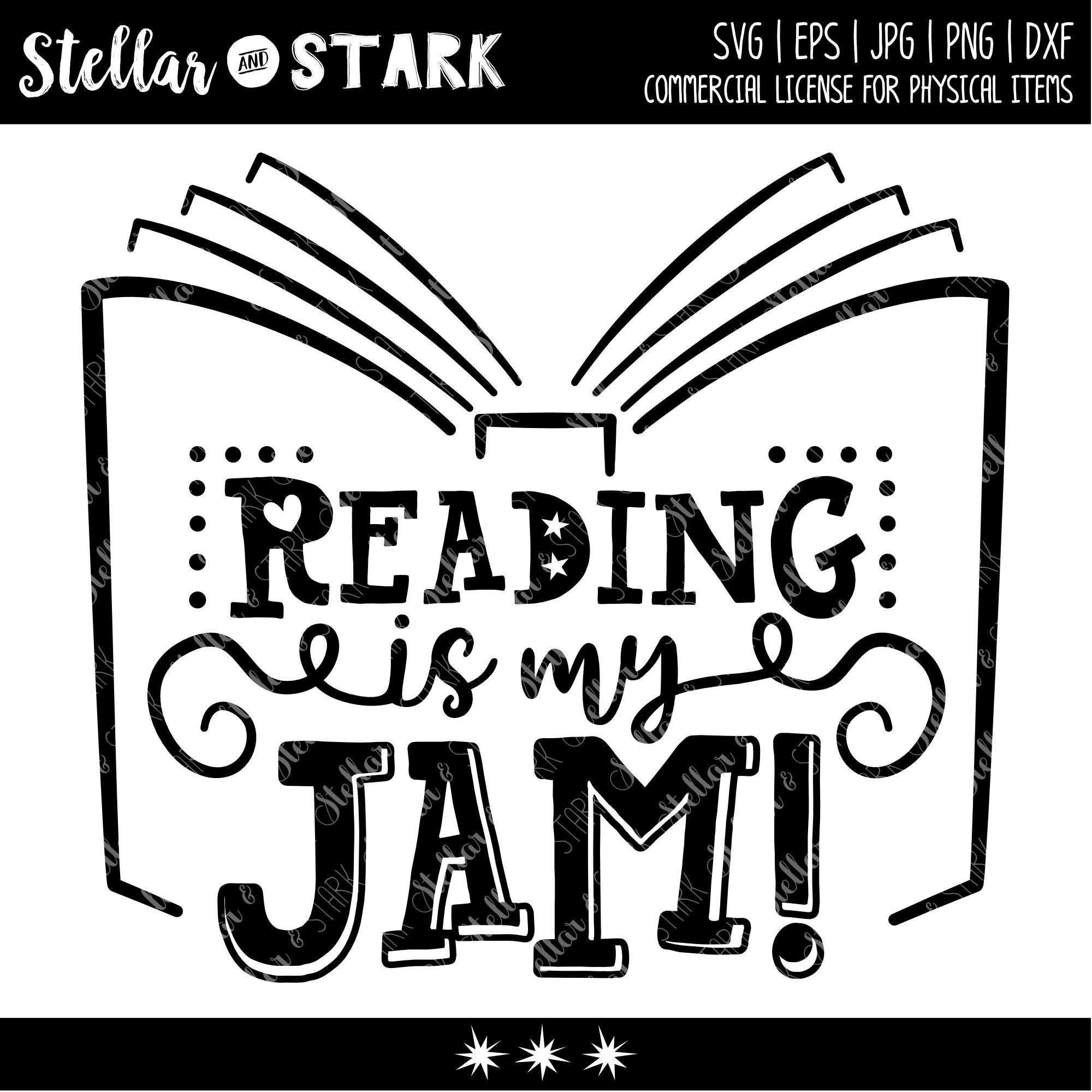Reading is my Jam! whimsical SVG Book Svg Back to