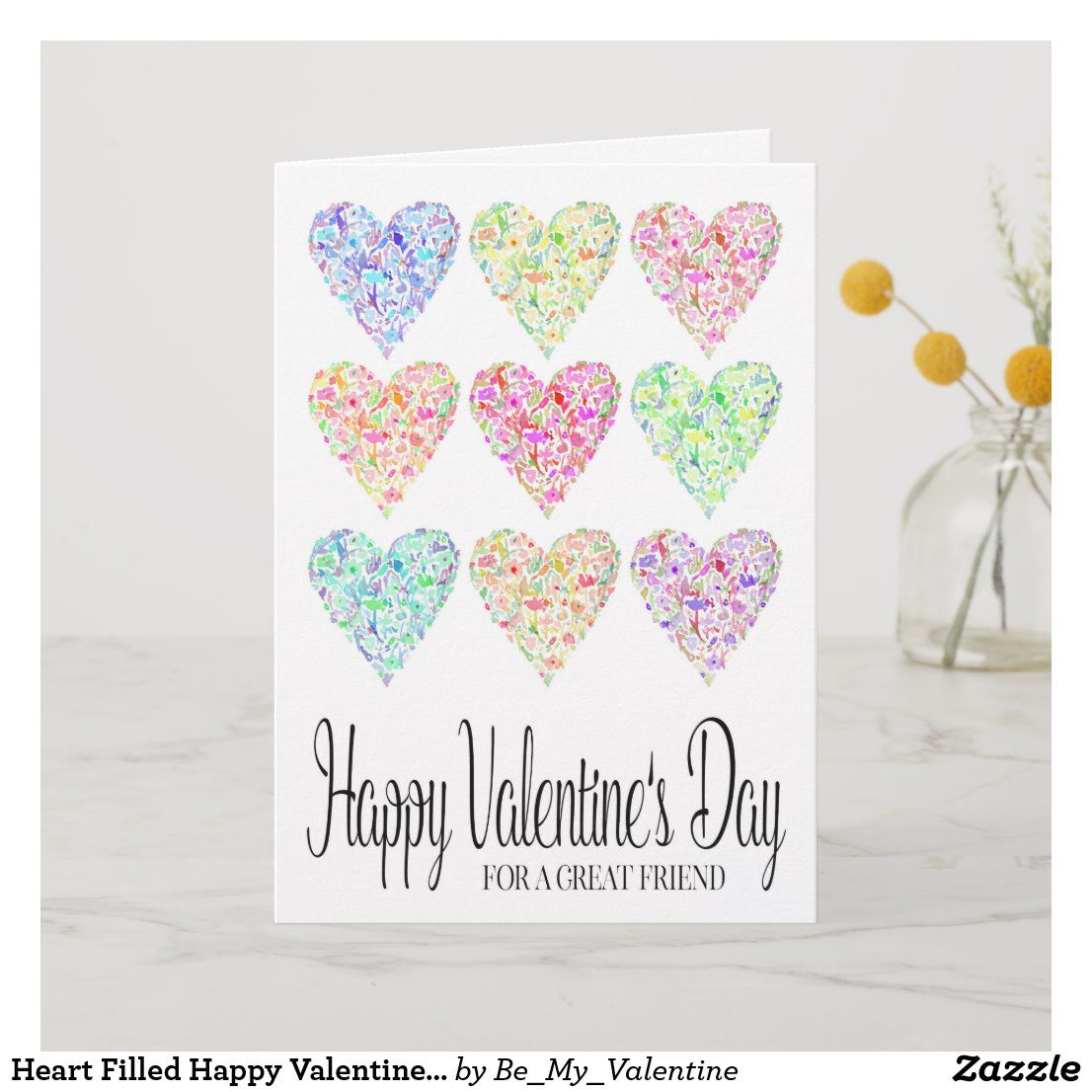 Heart Filled Happy Valentine's Day Friend Card