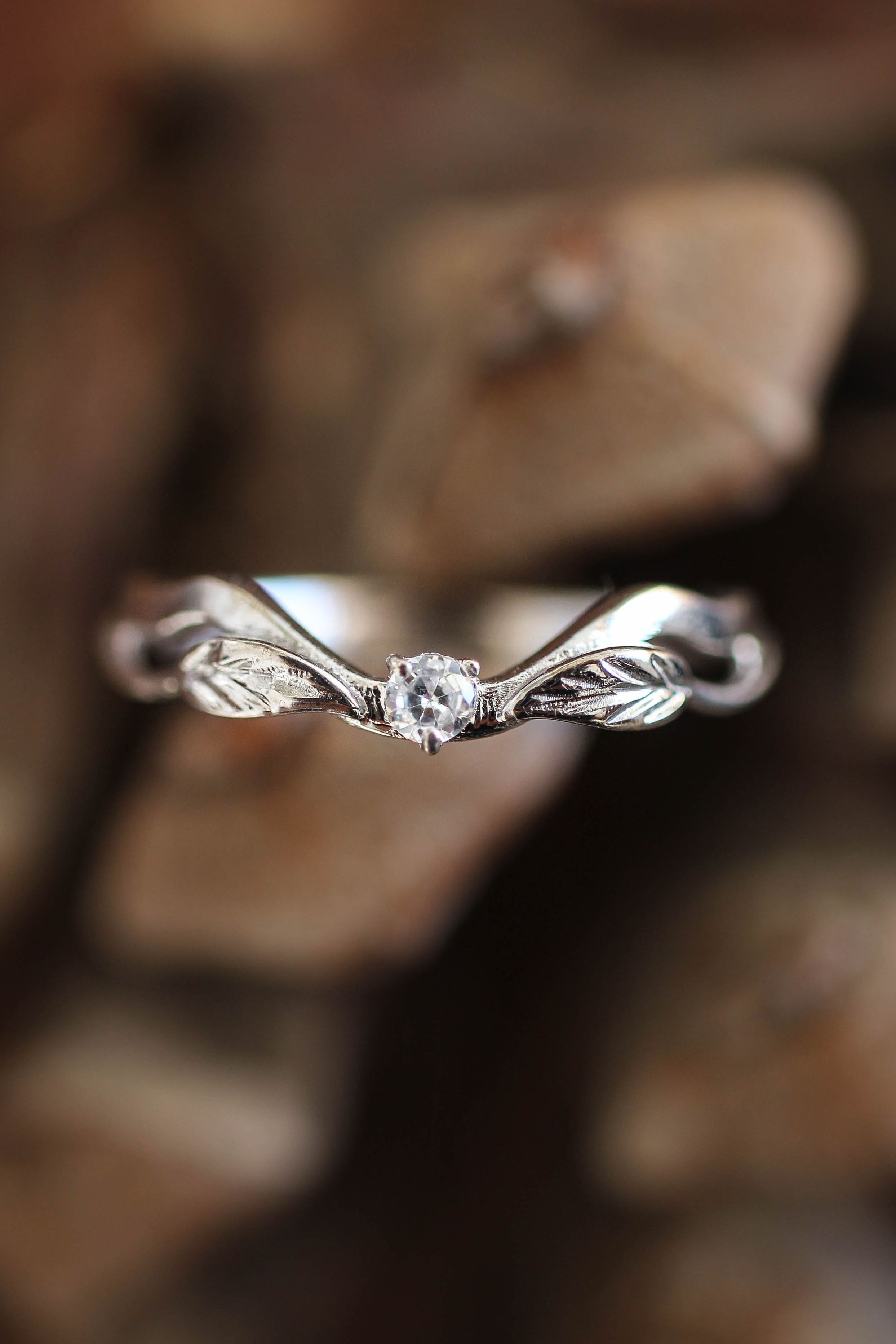 Matching Wedding Band With Diamond White Gold Leaves Ring Leaf