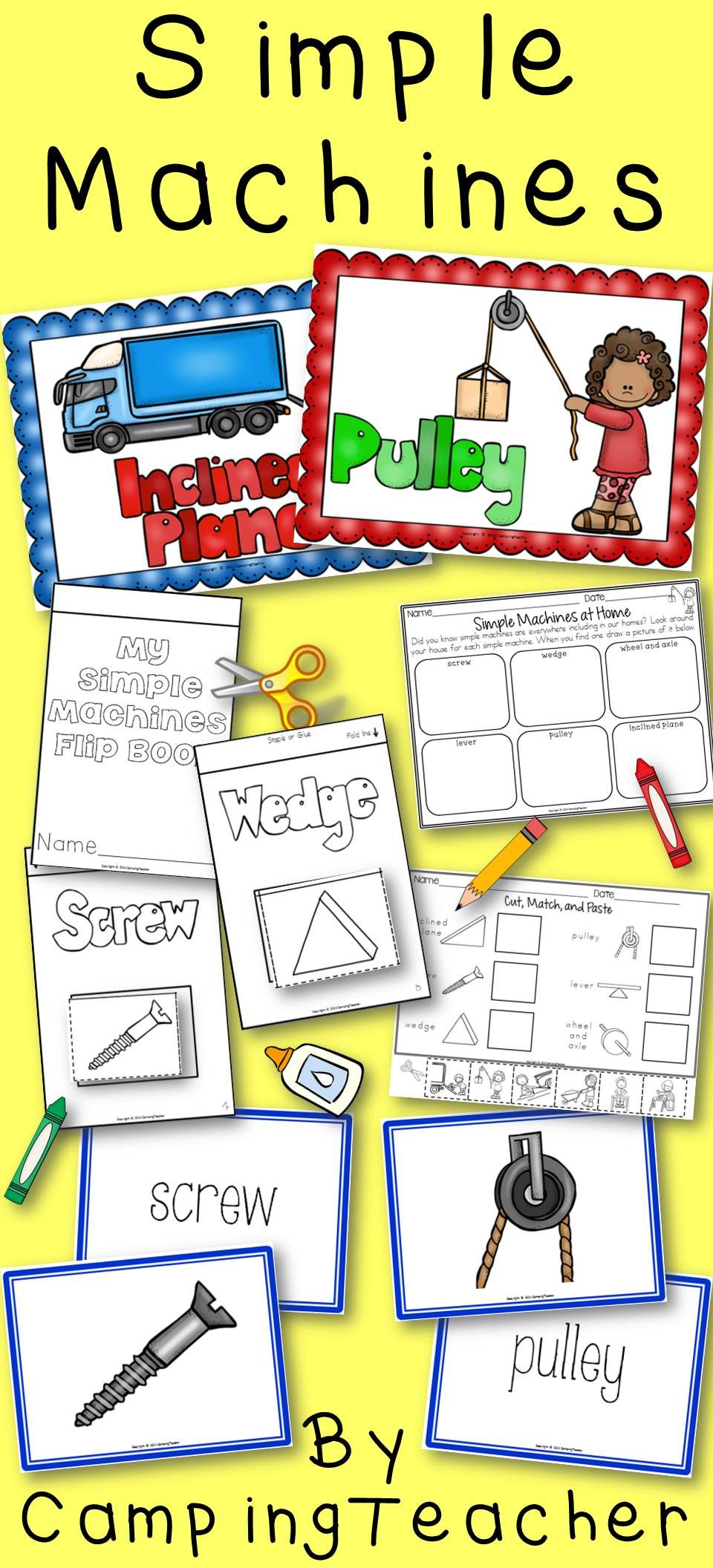 Simple Machines Anchor Charts Matching Cards Flip Book