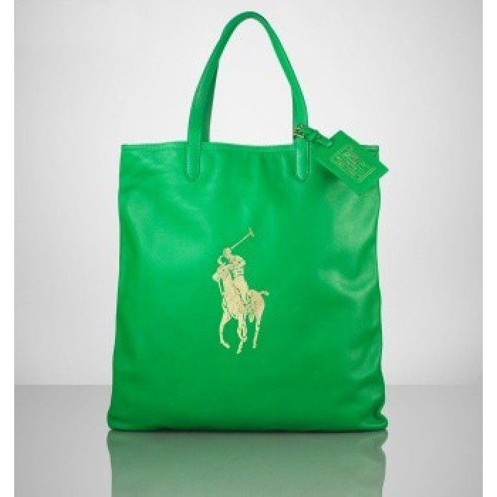 Ralph Lauren Polo Leather Tote Green