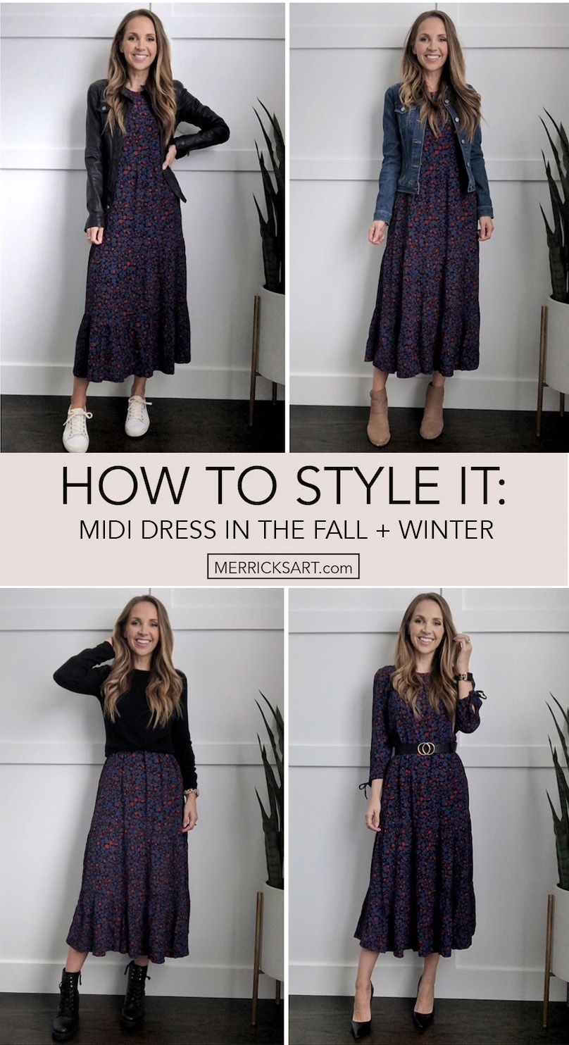 How To Wear A Midi Dress In The Fall Merrick S Art Winter Dress Outfits Casual Dress Outfits Dress For Petite Women [ 1484 x 808 Pixel ]