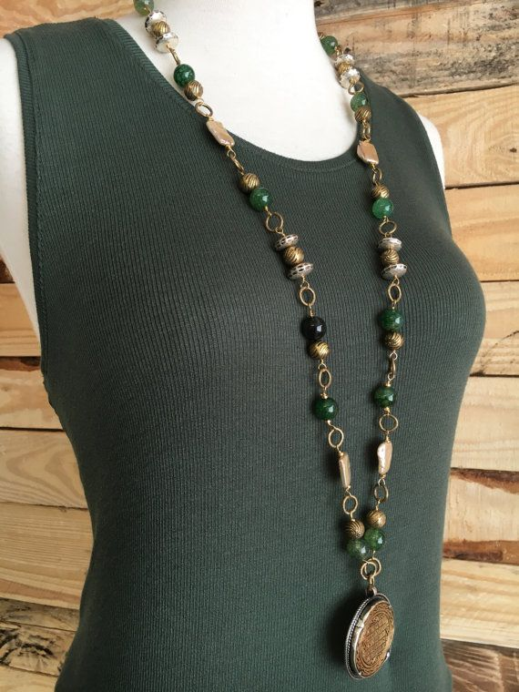 Tibetan Pendant with Green Agate and  Pearls by Gems4JewelsLLC