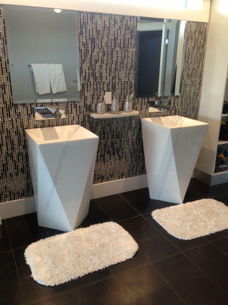 Vespasian 20 Inch Square Corner Pedestal Sink For Wall Or Floor Mount Faucet Pedestal Sink Corner Pedestal Sink Tiny Bathrooms