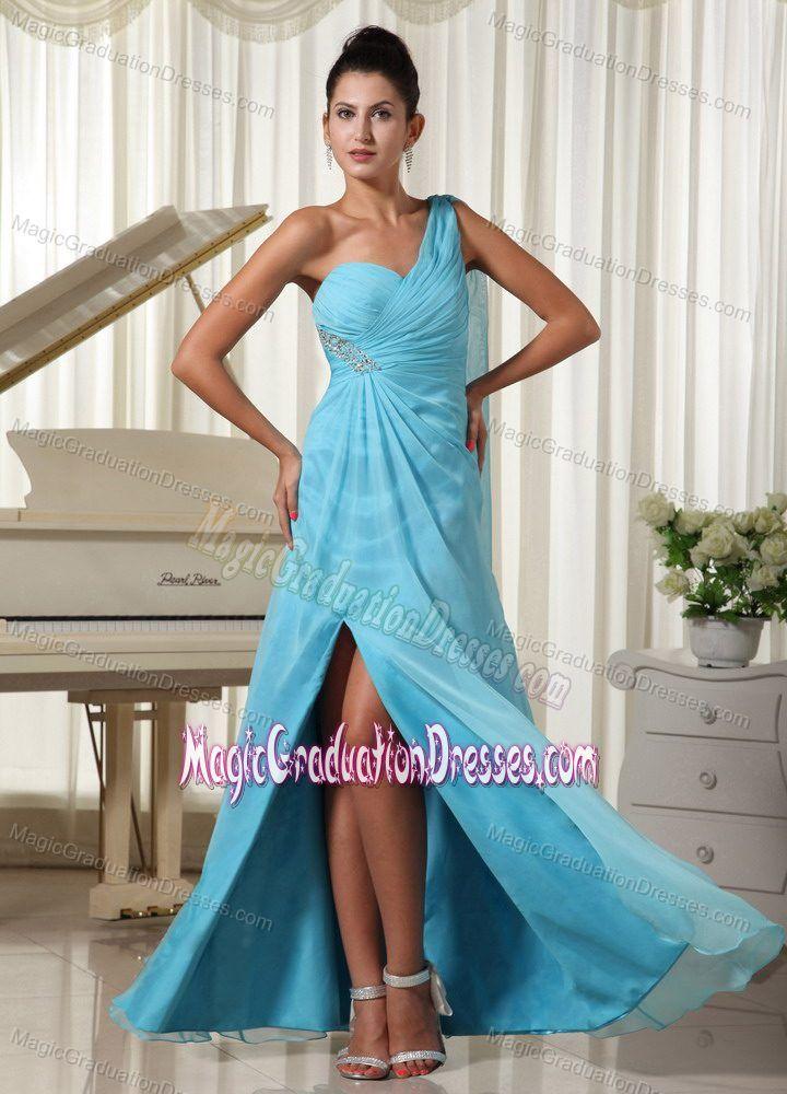 Aqua Blue One Shoulder High Slit Graduation Dress for 8th Grade in Donaldson