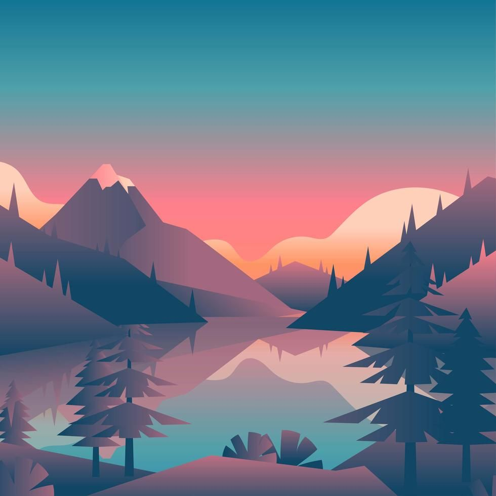 Mountain Lake Sunset Landscape First Person View Sunset Landscape Landscape Illustration Mountain Sunset Landscapes