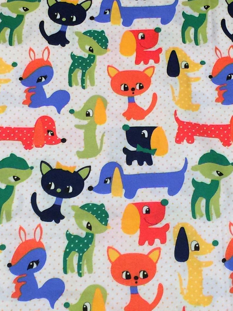 "100/% Cotton Fabric /""Plush Puppy/"" Micheal Miller Fabrics White w//Orange Dots"