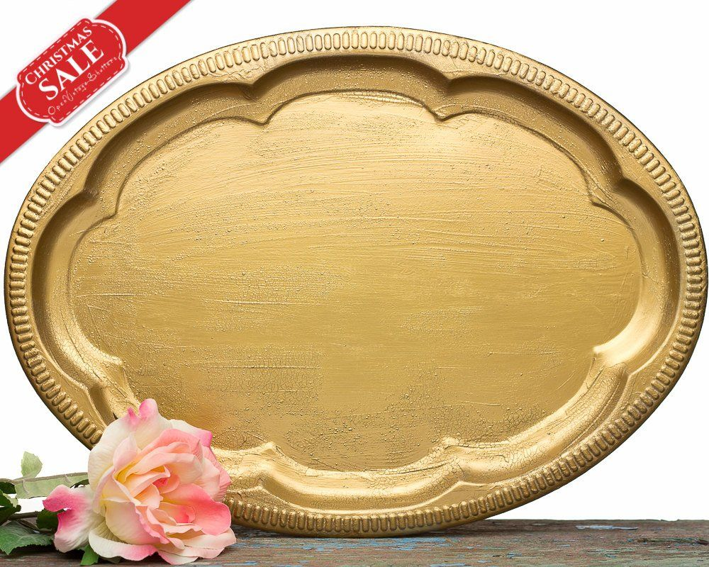 Vanity tray set of holiday gifts vintage gold style serving