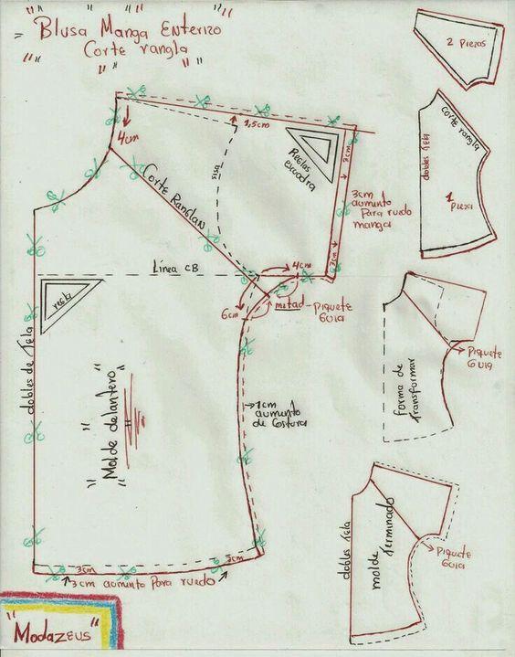 Patrón blusa | corte y confección | Costura, Manga rangla y Patrones ...