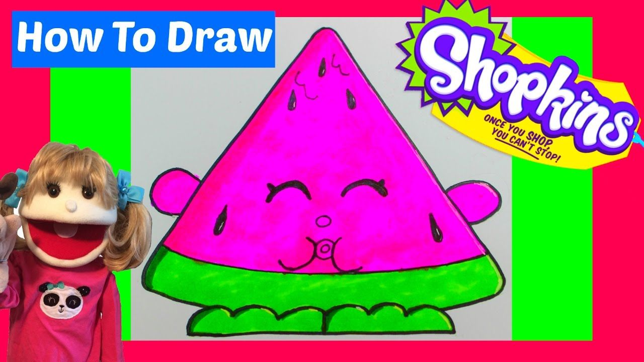 How To Draw Shopkins Melonie Pips Step By Step Easy Drawing Draw Waterme Shopkins Drawings Easy Drawings Drawings