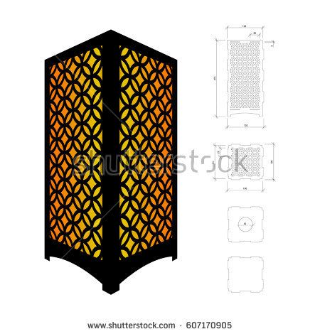 Cut out template for lamp, candle holder, lantern or ...