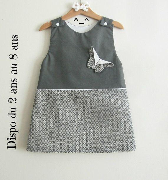 Robe fille , Robe 100% coton , robe enfant créateurs , robe trapèze , robe grise