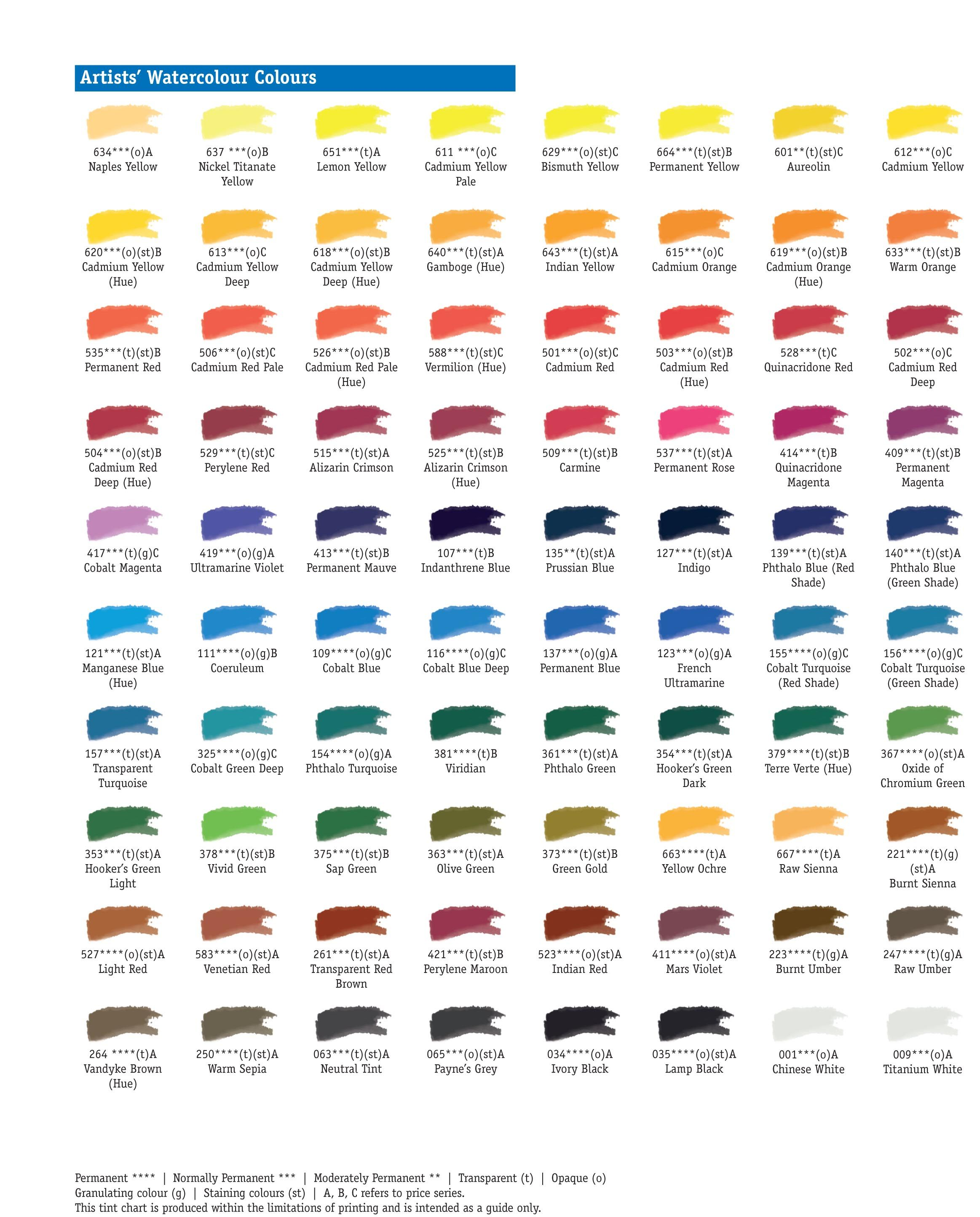 Daler Rowney Artists Water Colour Colour Chart Paint Charts