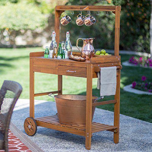 Marvelous Acacia Wood Garden Potting Bench Sink With Storage Drawer Interior Design Ideas Grebswwsoteloinfo