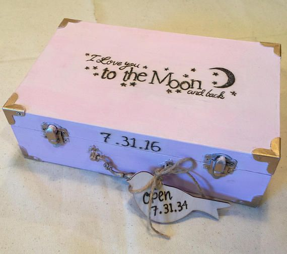 Baby Time Capsule Box First Birthday Ideas Sentimental Gift Small Memory Rustic Keepsake In Loving