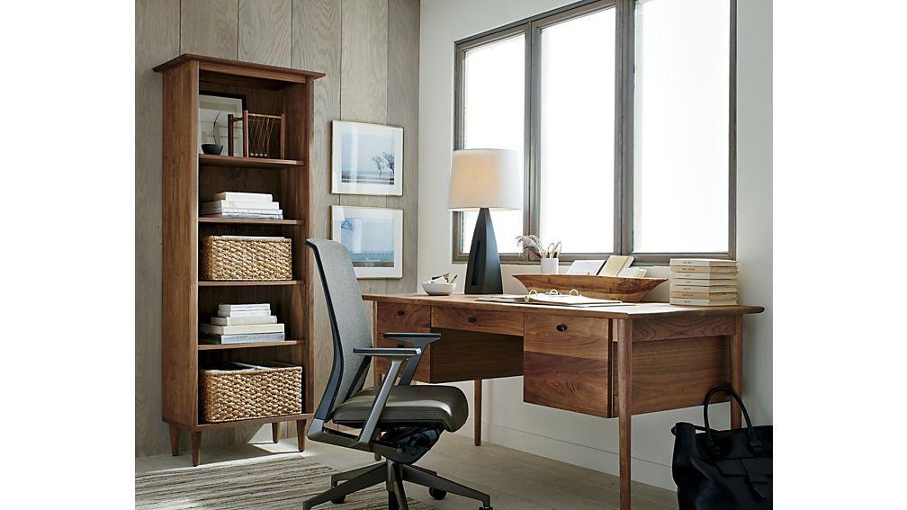 Kendall Walnut Desk Walnut Desks Crate And Barrel Desk Asian