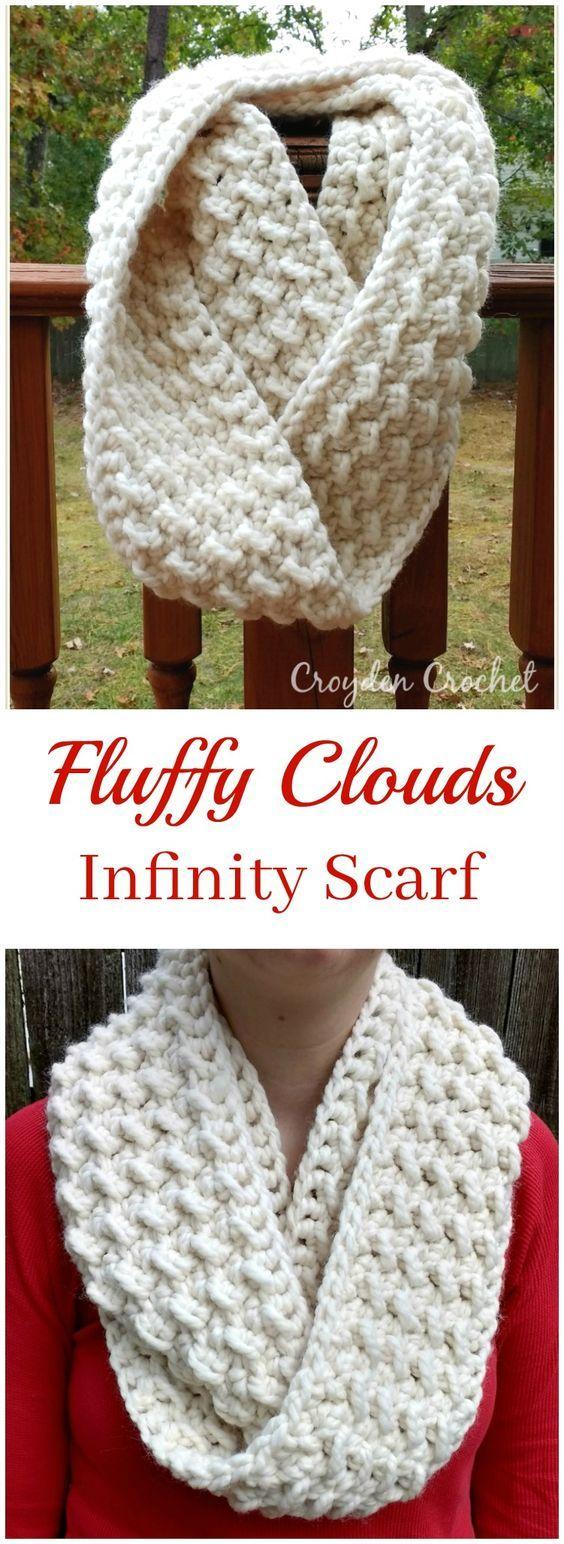 Fluffy Clouds Infinity Scarf | Blusas lindas, Bordes de ganchillo y ...