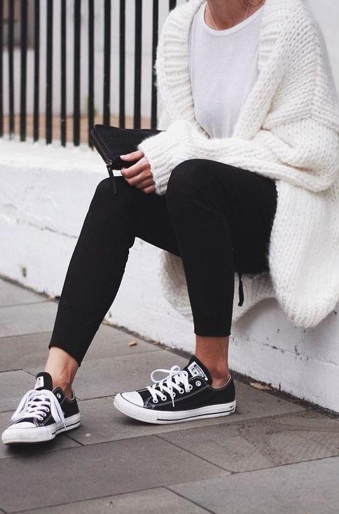 1395927e2d7f black + white. oversized cardigan. converse.