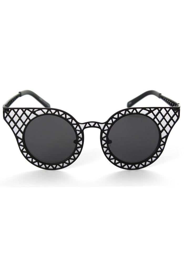 92fc979aa456a Cut Out Metal Frame  Cat  Eye  Sunglasses   Women s Sunglasses ...