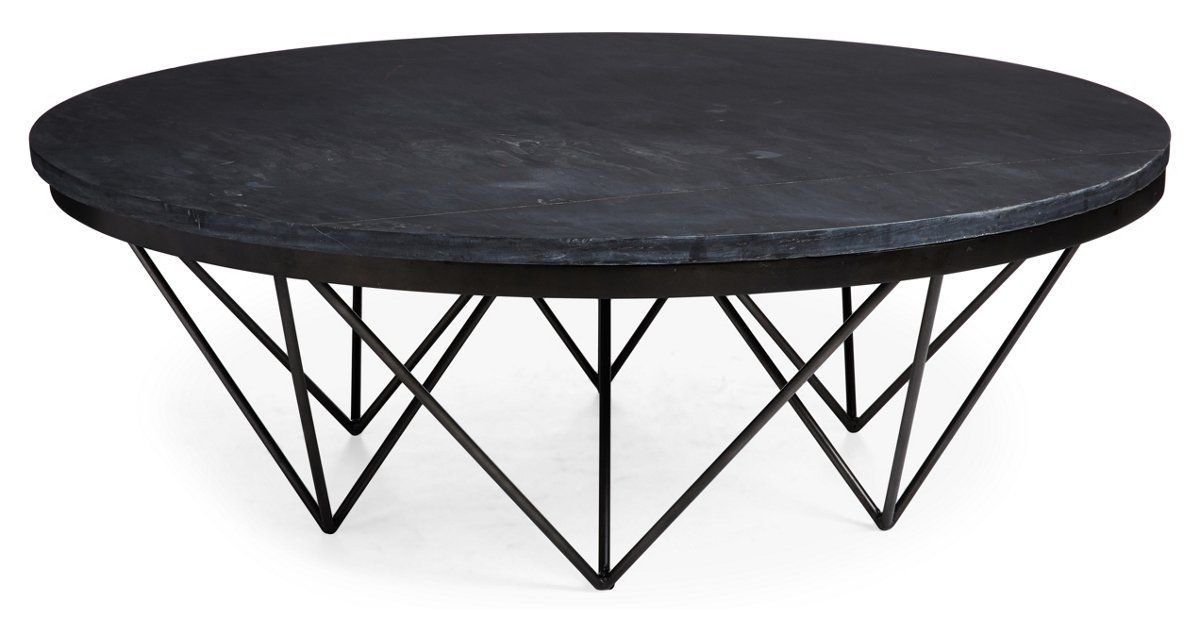 Metalworks Traditional Pine Metal Base Slate Inset Top Cocktail