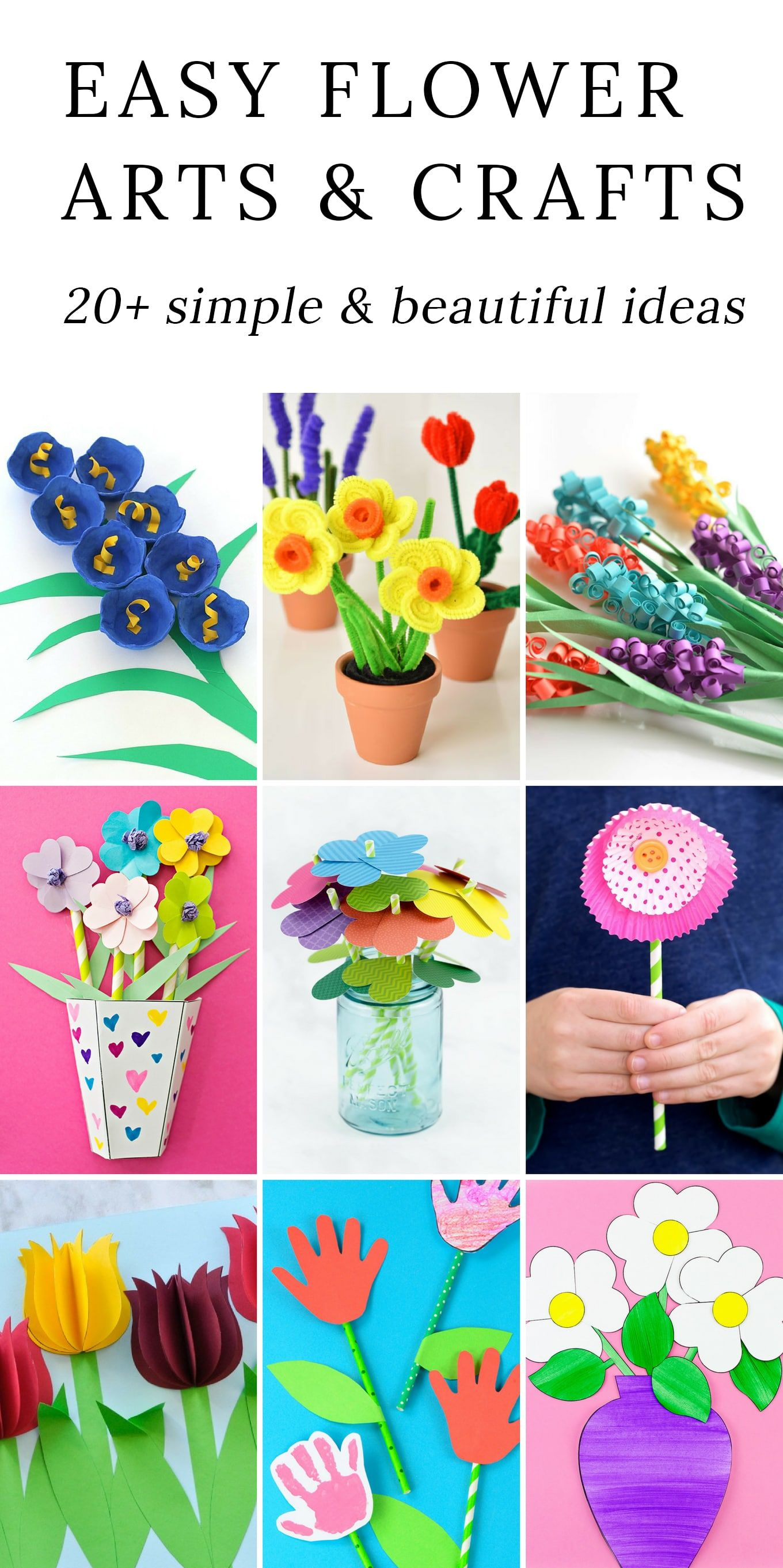 The Most Easy And Beautiful Flower Crafts Spring Crafts Activites