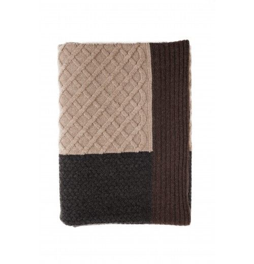 """RANI ARABELLA Cashmere Textured Three Knits Design Aspen Chocolate Throw. 52"""" x 72"""".  Made in Italy."""